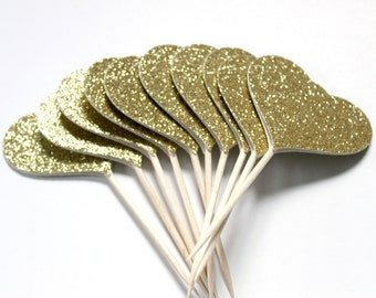 Gold Glitter Cupcake Toppers, Heart Cake Toppers, Golden Anniversary, Great Gatsby Party