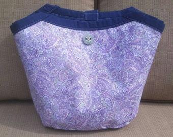 handmade bag, handmade shoulder bag, Purple Reversible Bag, purple paisley shoulder bag, purple swirl shoulder Bag, 100% cotton shoulder bag