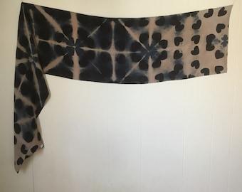 Wild Hearts itajime shibori scarf in stonewashed crepe