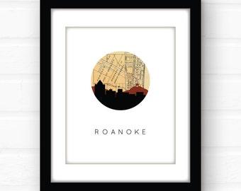 Roanoke, VA | Roanoke, Virginia map art | Virginia wall art | Virginia print | city skyline print | city map art | travel poster | urban art
