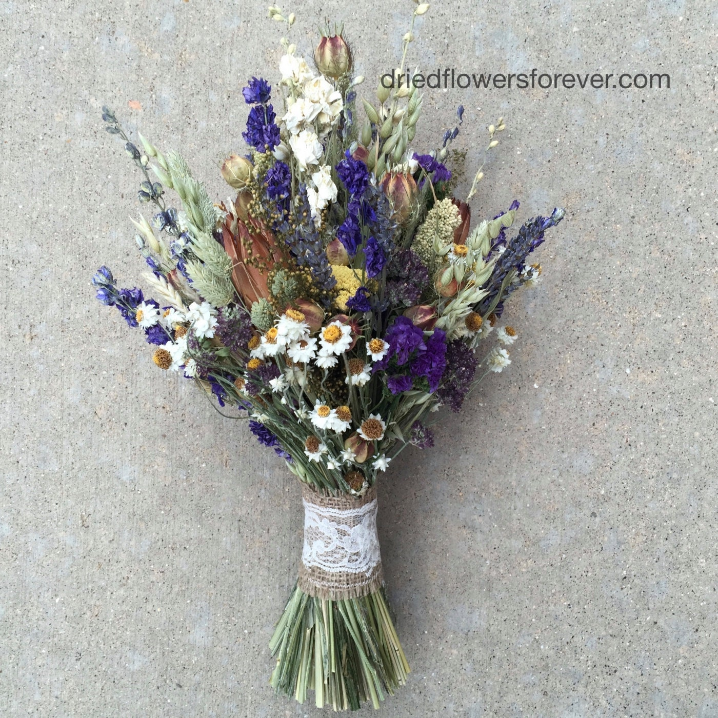 How To Dry A Bridal Bouquet Of Flowers : Purple dried flower wedding bouquet natural rustic preserved