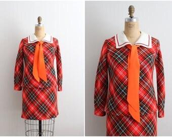 60s Mod Mini Dress /Plaid Dress / 1960s Dress / School Dress / Size S/M