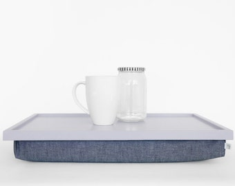 Lap Desk or Breakfast serving Tray - Light grey tray with Denim pillow