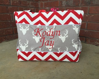 Deer and Red Chevron Diaper Bag Set