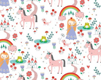 1/2 yard LAMINATED cotton fabric - 18 x 40 - Princess Dreams - EXCLUSIVE - Approved for children's products