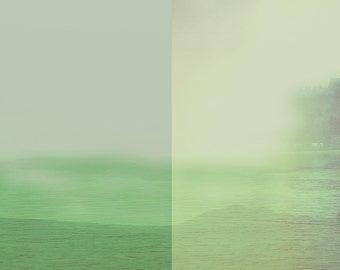 Pantone Green Abstract Landscape, Modern Wall Art, Large Landscape, Desert Water, Muted Pastels, Contemporary Art, Minimalist Landscape Art