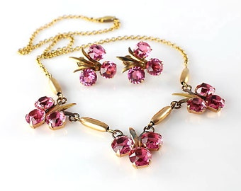 Pink crystal Necklace, Art Deco Earrings set, Gold Filled, Open Back stones, 1930s antique Amco jewelry