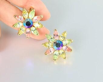 Daisy Rhinestone Earrings, vintage Pastel Crown Trifari Flower jewelry, Pink yellow Blue
