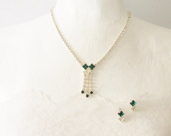 Vintage Silver Emerald Clear Rhinestone Necklace Earrings Silver Plate