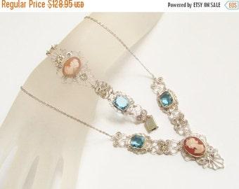SaLe Vintage Silver Carved Shell Cameo Blue Stone Necklace Bracelet Demi
