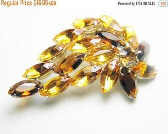 SaLe SALE Vintage Rootbeer Yellow Amber Rhinestone Leaf Flower Brooch