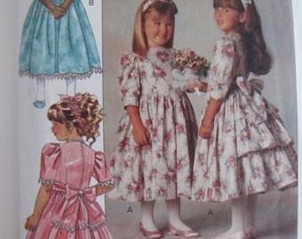 Vintage 1990 Baby Girl Toddler Flouncy Ruffle Dress Pattern - Butterick 5197 - Size 2 - Toddler