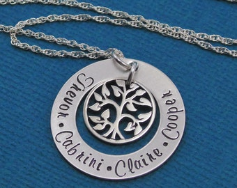 STERLING SILVER Hand Stamped Jewelry - Family Tree Necklace - Personalized Jewelry