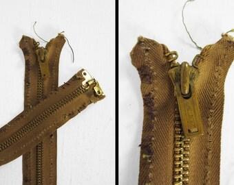 Vintage 1930s Talon Grommet Zipper Jacket Replacement 22 1/2 Inch Long Brown Metal Zip