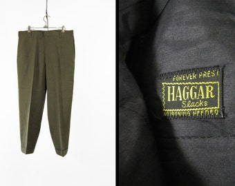 NOS Vintage Olive Green Slacks Haggar Flat Front Trousers Deadstock Men's Pants