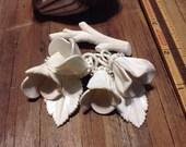 White Celluloid flower branch brooch
