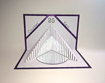 25th ANNIVERSARY Pop Up 3D CARD Stairs to HEALTH Custom Order 4 K, Handmade in White & Metallic Purple. Geometric Personalized OOaK