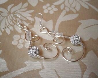 Wire wrapped Earrings, Bridal Earrings, Wire Wrapped Jewelry, Silver Earrings, Handmade Jewelry