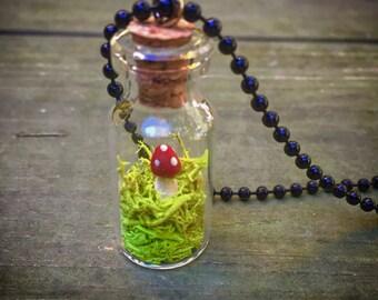 Mushroom terrarium necklace