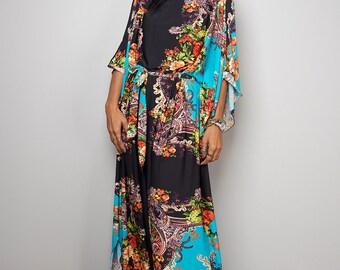 Boho Dress - Blue Floral Maxi Dress : Funky Elegant Collection No.3