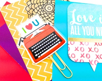 Red Retro Typewriter Planner Paper Clip Collection 8 Designs | Novelty Magnets & Planner Accessories - Office School and Party Favor Gifts