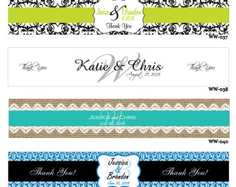 125 Custom Glossy Waterproof Wedding Water Bottle stickers - hundreds of designs to choose from - change designs to any color, wording, etc