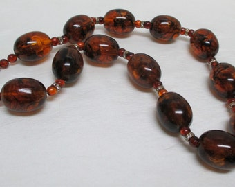 Vintage 70s LES BERNARD INC Large Beaded Amber Lucite Necklace with Rhinestone Rondelles