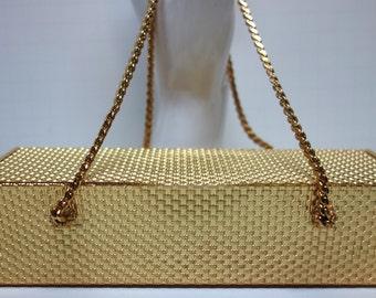 KORET Vintage Rectangular Gilt Metal Box Evening Bag