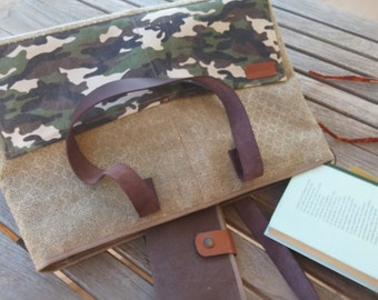 Toe bag - Camouflage canvas tote bag-  heavy linen canvas tote bag