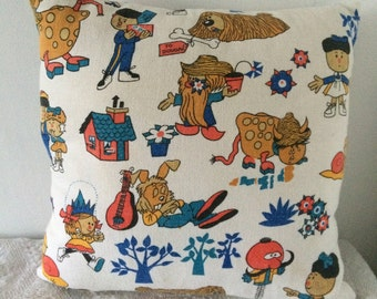Cushion made from Vintage Magic Roundabout Fabric - featuring Dougal, Brian, Dylan, Ermintrude, Florence, and Zebedee