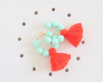 Aqua and Orange Tassel Earrings, Beaded Tassel Earrings, Tassel Jewelry