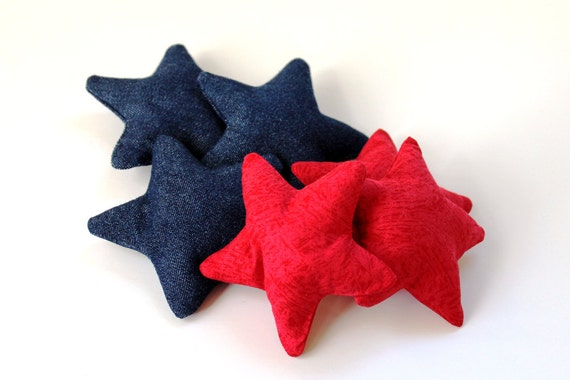 Star Shaped Red Blue Bean Bags Children's Toy Set Of 6