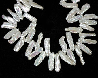 Biwa Stick Freshwater Pearls 11 Pieces Top Drilled White Bridal Pearls June birthstone