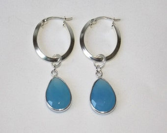 Natural Blue Chalcedony sterling silver drop earrings (#2605)