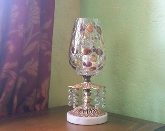 "Crystal Lamp, Bohemia Czechoslovakian Crystal Optic Coin, Rare, 16""h, x 8""w. and 11""h. x 4"" Two Available w."
