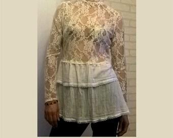 tunic, lace, ecru, romantic tunic, artsy tunic, boho, upcycled clothing, recycled tunic