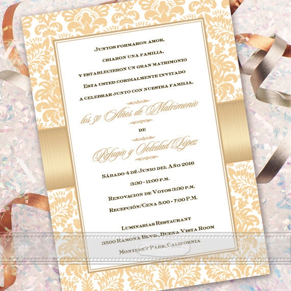 50th wedding anniversary, 50th wedding anniversary invitations, Spanish 50th anniversary, champagne wedding anniversary, IN323