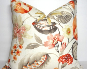 Peach & Grey Floral Print Pillow Cover Orange Flower Print Throw Pillow Cover Size 18x18