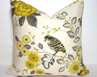 Floral Bird Pillow Cover Citrine  Grey Ivory Pillow Cover Decorative Flower Bird Throw Pillow Cover Choose Size