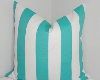 FALL SALE OUTDOOR Aqua & White Large Stripe Pillow Cover Deck Patio Pillow 18x18