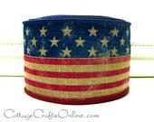 "Wired Ribbon 2 1/2"" Red, White, Blue American Flag Print - TEN YARD ROLL - ""Stars and Stripes Tan"" Tea Dye Patriotic July 4th  Ribbon"