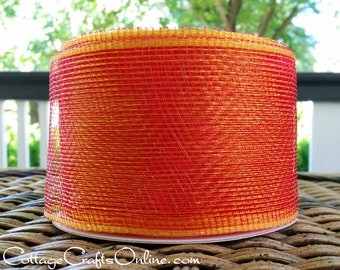 "CLEARANCE! Mesh Ribbon, 4"" Red, Gold, Orange Mesh Netting - TWENTY FIVE Yard Roll -  Halloween, Fall Decorative Mesh Ribbon"
