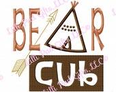 Bear Cub - TeePee - Applique - Machine Embroidery Design - 6 Sizes