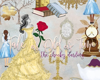 Beauty and The Beast  Watercolor Glitter Fall Fairytale  Floral Clipart Graphic Hand Painted  files  Small Printed CU  Stickers