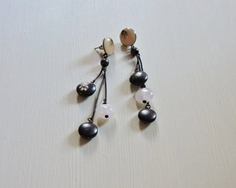 Long dangle beaded earrings