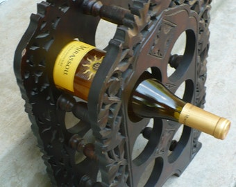 Gorgeous Carved Wood Ornate Wine Rack 6 Bottles
