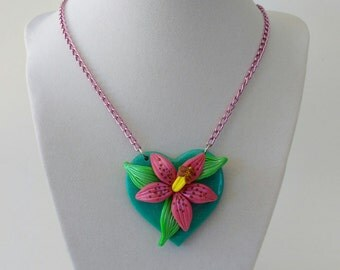 Tropical Lily Neckace- Teal and Pink