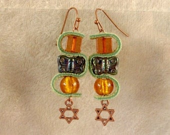 Leather, Glass, and Metal Earrings - LE38