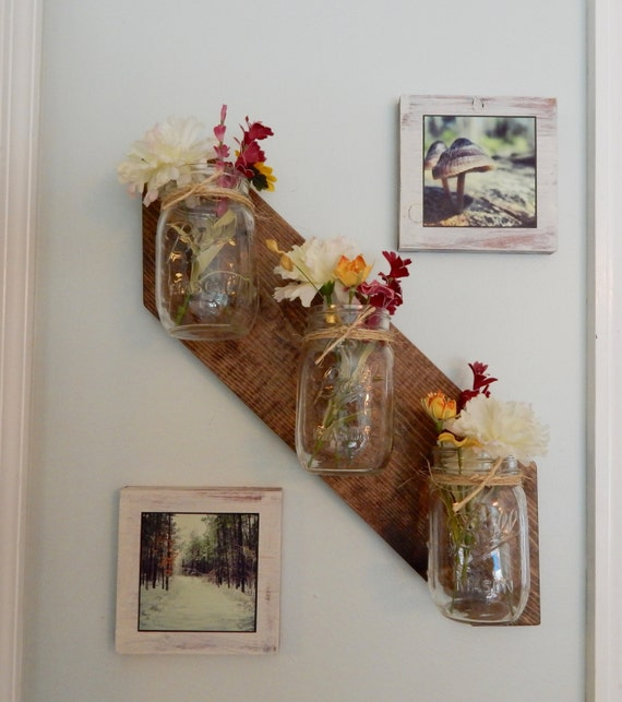 Mason jar decor wall decor home accents rustic for Home decor accents