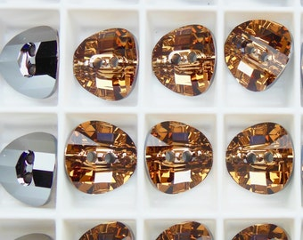 Swarovski 3016 Light Colorado Topaz 14mm Buttons M-Foiled - 2 Pieces